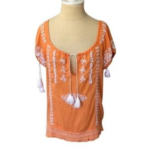 Calypso Embroidered Peasant Blouse with Tassels